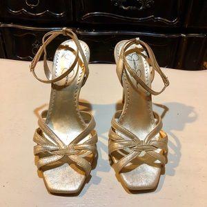 Jessica Simpson matte gold heeled sandals